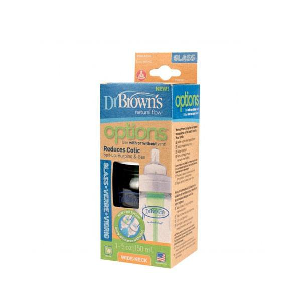 Dr. Brown's - Brede halsfles glas 150 ml