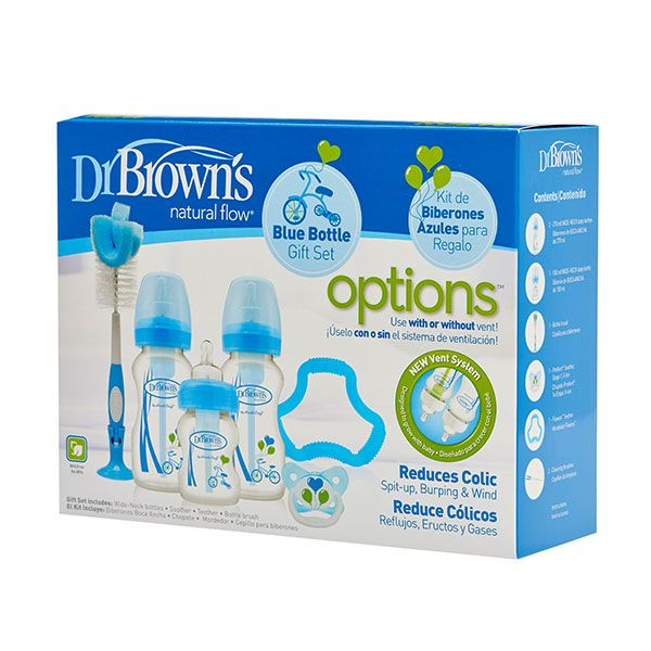 Dr. Brown's Options Bottle Gift Set Brede Hals - Blauwe