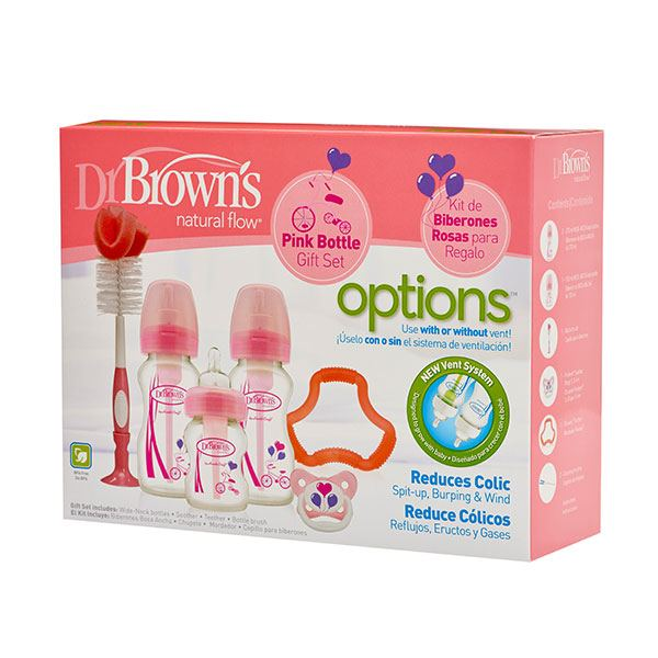 Dr. Brown's Options Bottle Gift Set Brede Hals - Roze
