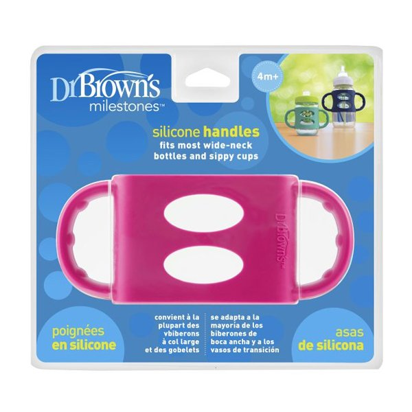 Dr. Brown's - Siliconen handles - Brede fles - Roze
