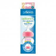 Dr. Brown's Options+ - Sterterkit Bredehals - Bottle to Sippy - 270 ml roze