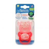 Dr. Brown's - Fopspeen - Glow in the Dark - 0-6 maanden - Roze